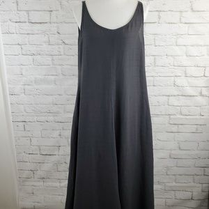 Eileen Fisher Maxi Dress Italian Leather Dark Gray